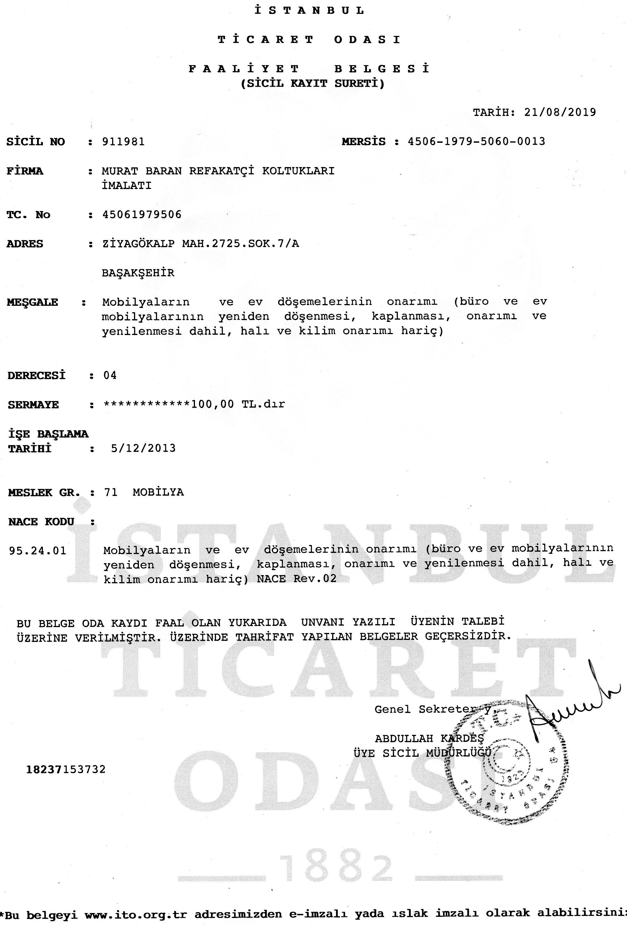pırımlar faliyet belgesi